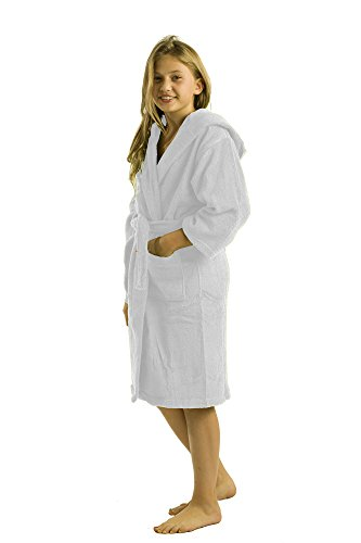 White Clothing Hood (Terry Hooded Kids Bath Cover-Up Towel Robes, Medium, White)