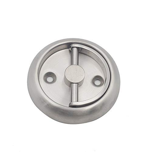 Round Recessed Door Handle/Deadbolt (No Key)(Standard US Door 1.3-1.7 inch / 35-45mm), NOT FOR POCKET DOORS, Thin latch with Rounded edge. Cannot be used for pre-made doors with knob/handle holes