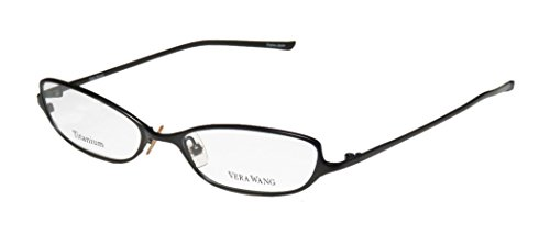 Vera Wang V34 Womens/Ladies Optical With Hard Case Designer Full-rim Titanium Eyeglasses/Spectacles (51-16-133, Black)