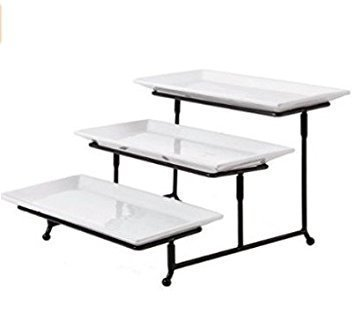 3 Tier Rectangular Serving Platter, Three Tiered Cake Tray Stand, Food Server Display Plate Rack, White -