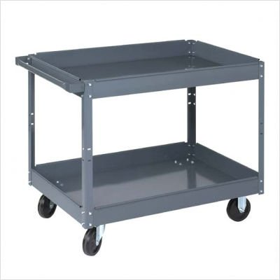 "Wesco Industrial Products 270168 Steel Service Cart, 2 Tray, 500-lb. Load Capacity, 39"" L x 24"" W x 32"" H from Wesco"
