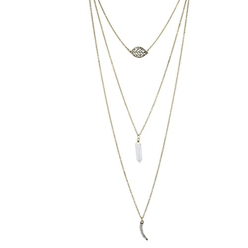 Lux Accessories Burnished Gold Triple Layer Boho Leaf Quartz Horn Necklace ()