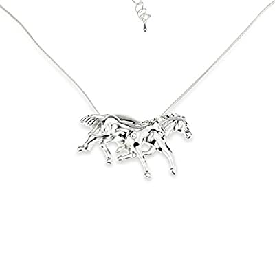 "Mother & Daughter Horse Charm Pendant Necklace - ""My Little Pony"" - Silver - Great Birthday / Christmas Gift for Girls / Teens / Moms"