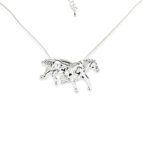 Mother & Daughter Horse Charm Pendant Necklace -
