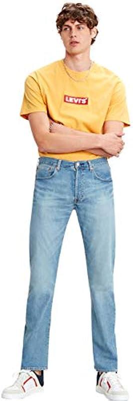 Levis® dżinsy męskie 501® - Original Fit - niebieskie - Vero Light Stretch jeans Denim W30-W40 96% bawełna: Odzież