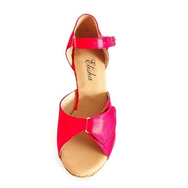 XIAMUO Angepasste Frauen Latein Sandalen angepasste Heel Satin Schuhe mehr Farben, Pfirsich, US 6 / EU 36/UK4/CN 36