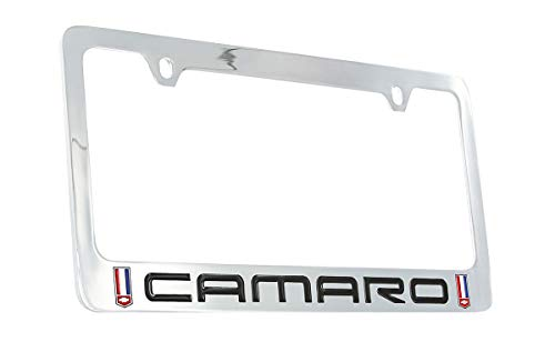 (Chevy Camaro (1982-2002) Red, White and Blue Logo Chrome Plated Brass License Plate Frame)