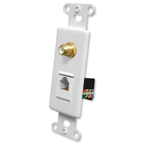(Pro Wire OEM Systems Combo Jack Plate (1 F, 1 RJ45), White (IW-1F1RJ45G w))