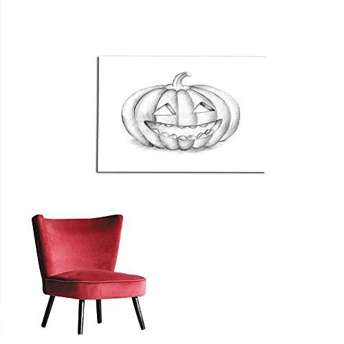 homehot Corridor/Indoor/Living Room Smiling Halloween Pumpkin Hand Drawing Illustration Mural -