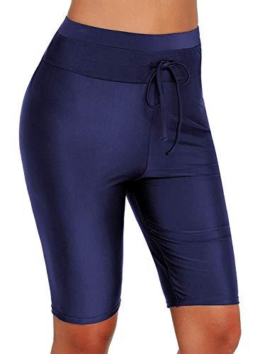 (Womens Board Shorts Swimsuit Bottom High Waisted Tankini Long Sport Skinny Capris Swim Shorts (Blue, X-Large (fits Like US)