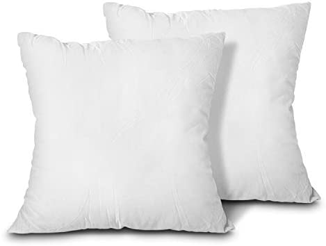 Amazon Com Edow Throw Pillow Inserts Set Of 2 Lightweight Down Alternative Polyester Pillow Couch Cushion Sham Stuffer Machine Washable White 20x20 Home Kitchen