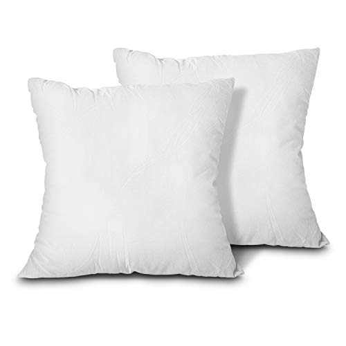 EDOW Throw Pillow Inserts, Set of 2 Lightweight Down Alternative Polyester Pillow, Couch Cushion, Sham Stuffer, Machine Washable. (White, 18x18) (18 Pillow Insert)