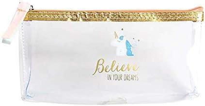 WeiMay Estuche de lapices Bolsa de lápiz transparente de gran capacidad Patrón de unicornio de dibujos animados (Dorado): Amazon.es: Oficina y papelería