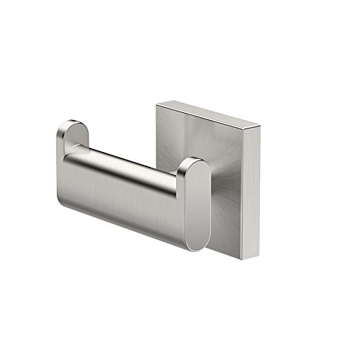 Gatco 4075A Elevate Double Robe Hook, Satin Nickel (Modern Double Robe Hook)