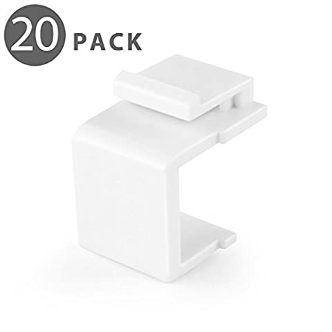 TNP Blank Keystone Jack Coupler Insert (20 Pack) Snap In Female Module Connector Socket Adapter Port For Wall Plate Outlet Panel - Blank Filler Module
