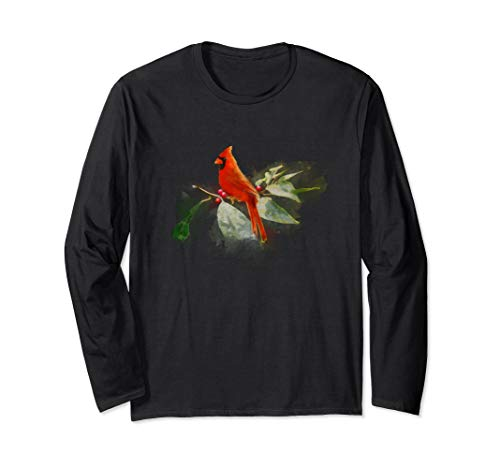 Wild Red Cardinal Bird Long Sleeve