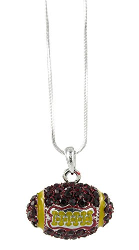 Dome Football Rhinestone Pendant Necklace - Dark Red Crystal and Gold Enamel