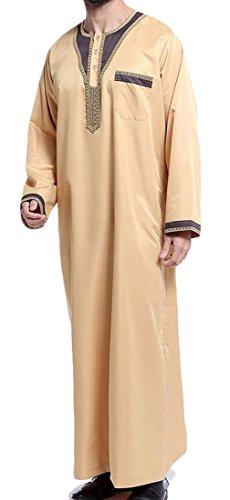 X-Future Men Saudi Style Thobe Thoub Abaya Robe Dishdasha Islamic Arab Kaftan 2 2XL by X-Future