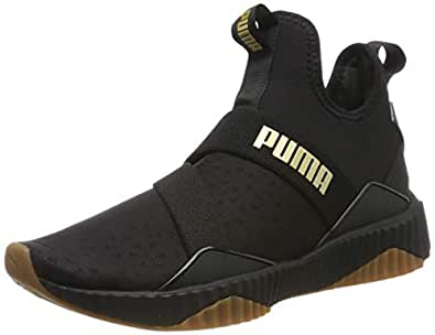 PUMA Women's DEFY MID Sparkle WN's Outdoor Multisport Training Shoes, Puma Black-Metallic Gold, 6 US