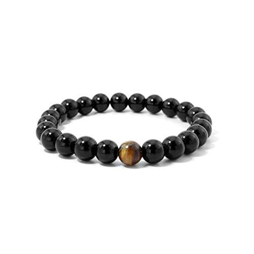 Axixi Handmade Gem Unisex Tiger Eye and Black Onyx Prayer Mala Beads Stretch Bracelets (smooth, 8mm)