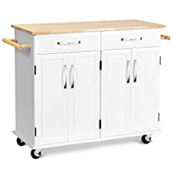 Kitchen Casart Kitchen Island W/Wood Top, Two Drawers and Cabinets, Lockable Wheels Rolling Kitchen Cart (White) modern kitchen islands and carts