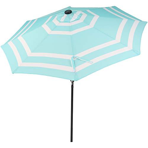 Sunnydaze 9 Foot Outdoor Patio Umbrella with Solar Lights & Tilt/Crank, LED, Teal Stripe (Teal Led)