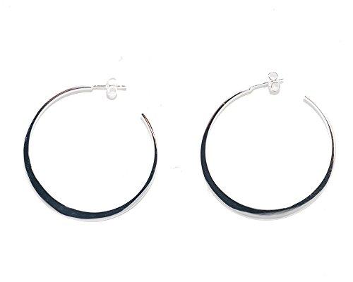 Crescent Hoop - Sterling Silver Post-Back Crescent Hoop Earrings, Large