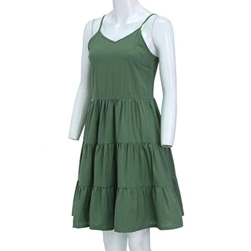 IEasⓄn Women Dress, Summer Women V-Neck Solid Sexy Sling SleevelessTightness Mini Dress Green by IEasⓄn (Image #2)