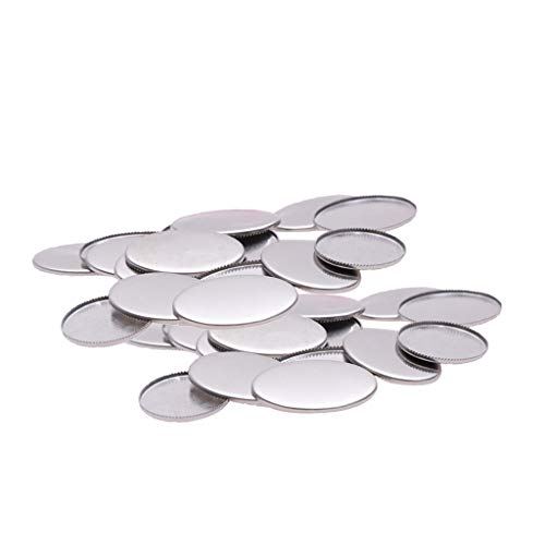 Fenteer 13x18mm/18x25mm Blank Cabochons Tray (Stainless Steel, No Loop), Oval Base with Crown/Sawtooth Shaped Lace Circle, for DIY Jewelry Making - Size 3 30Pcs ()