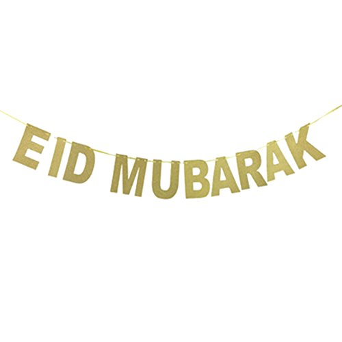 Cianowegy Eid Mubarak Glitter Banner Gold Letters String Flag Party Decoration EID MUBARAK Pennant Banner Cardboard Party Supplies