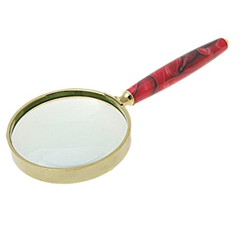 Uxcell Metal 3X Magnifying Slim Handle Glass Magnifier