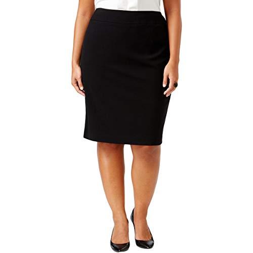 Nine West Women's Plus Size Stretch Suit Skirt, Black 20W