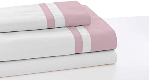 ESTELIA - Juego de sábanas Color Blanco con Detalle Rosa - Cama de ...