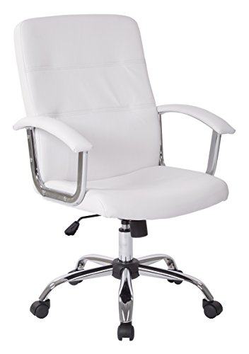 AVE SIX Malta Faux Leather Seat and Back Office Chair with Padded Arms and Chrome Accents, White