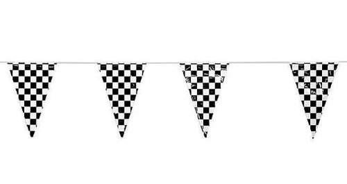 Adorox Black White Checkered Flags Party Banner 100 ft Pennant Car Racing Kid's Birthday (Black/White Checkered (100 - Pennant Flag Party