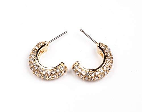 Gold plated Bling clear rhinestone half moon post earrings, half round glittering...