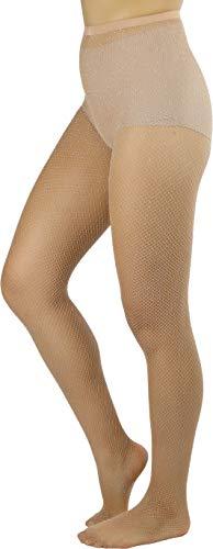ToBeInStyle Women's Spandex Seamless Glittery Fishnet Pantyhose Tights Hosiery - Beige With Silver Glitter - One Size: Regular