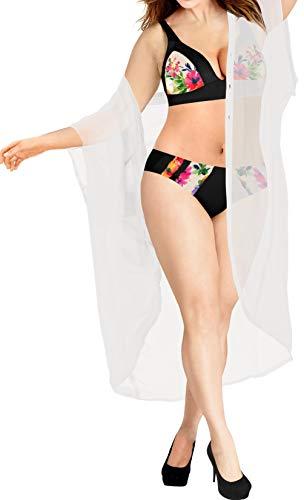 Ups Cover Plus Size (Women Casual Beach Loose Kimono Cardigan Swim Capes Chiffon Solid White_O973)