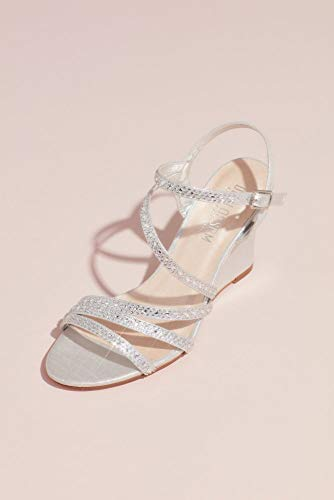 David's Bridal Strappy Low Wedges with Crystal Details Style AEMMA5, Silver, 7.5 (Strappy Low Heel Sandal With Crystals By Blossom)