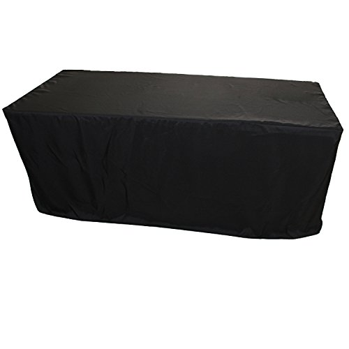 FantasyDeco 6 ft. Fitted Rectangular Polyester Tablecloth, Black, 30x72-inch