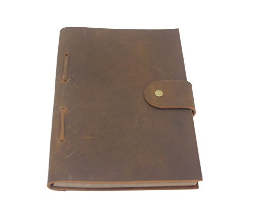 Refillable Leather Journal - 8.5 x 6 Inches Vintage Handmade Leather-Bound Notebook with Lined Paper for Writers, Travelers, and Executives - Classic Leather Gift for Men and Women