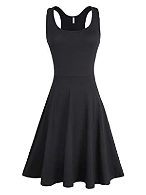 Missufe Women's Casual Plain Scoop Neck Fit and Flare Knee Length Dress