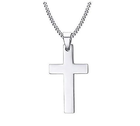 Collar de acero inoxidable collar colgante cruz collar accesorio (plata)