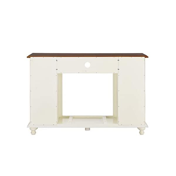 SEI Furniture Carlinville Media Stand Alexa-Enabled Smart Storage Fireplace, Antique White/Walnut