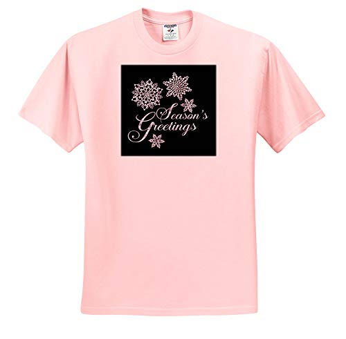 Andrea Haase Holiday Illustration - Silver Snow Crystal Ornaments On Black with Christmas Typography - T-Shirts - Toddler Light-Pink-T-Shirt (4T) (ts_291697_49)