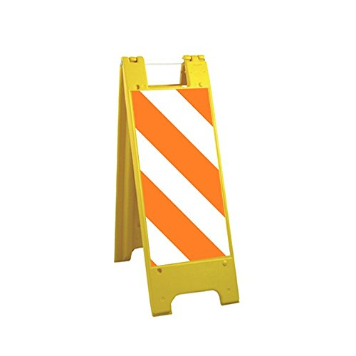 """Plasticade 155-HT12HIP-Y-S Minicade Barricade/Sign Stands, 12"""" x 24"""" High Intensity Prismatic Striped Sheeting, Side Striping, Yellow"""