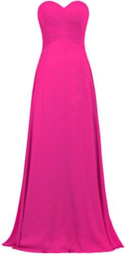 Robe Longue Robes De Demoiselle D'honneur En Mousseline De Soie Robe De Soirée Rose Chaud De Fourmis Femmes