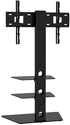 For LED LCD OLED 27 to 60 Inch Floor Standing One Base Shelf Mountright Cantilever Tall TV Stand with Bracket