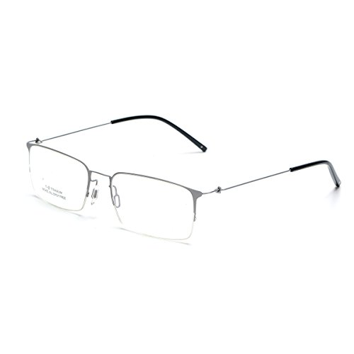 SO SMOOTH WIND Square Shape Glasses Frame Prescription Eyewear Frame S1101 (Silver, Demo clear - Titanium Glasses