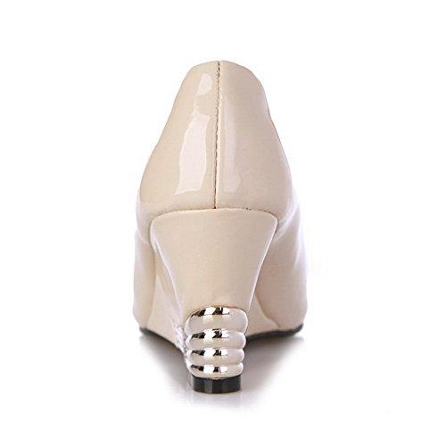 Sandales AgooLar Unie Talon à Ouverture PU Couleur Cuir Coin Haut Petite Tire à Beige Femme qqUpxwPB4